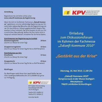 """Gestärkt aus der Krise"" - KPV Baden-Württemberg"