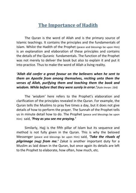 The Importance of Hadith - Dars e Hadith!