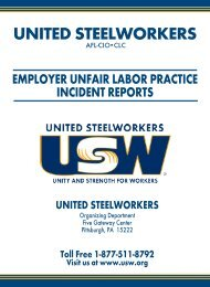 employer unfair labor practice - United Steelworkers