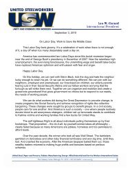 the Labor Day statement - United Steelworkers