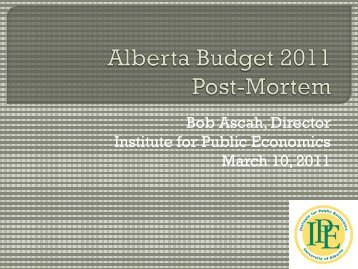 Budget 2011 Post-Mortem - Institute for Public Economics