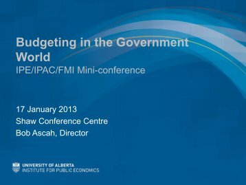 Budgeting in the Government World - Institute for Public Economics