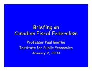 Briefing on Canadian Fiscal Federalism - Institute for Public ...