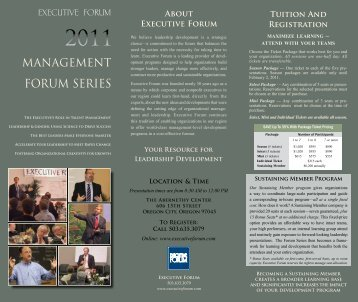 the 2011 Management Forum Series - Executive Forum