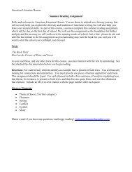 American Lit Honors Summer Reading - Nazareth Academy