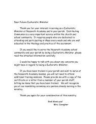 Dear Future Eucharistic Minister - Nazareth Academy