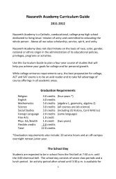 Nazareth Academy Curriculum Guide