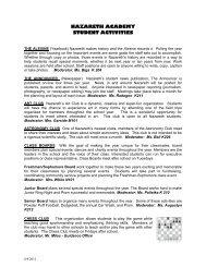 STUDENT ACTIVITIES - Nazareth Academy
