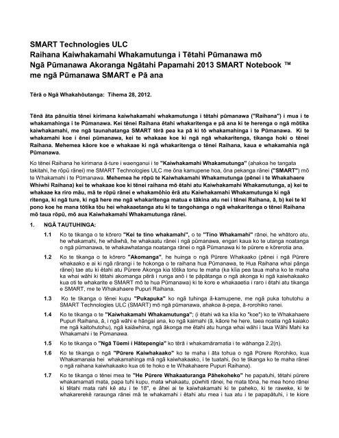 SMART Technologies ULC Raihana Kaiwhakamahi Whakamutunga ...