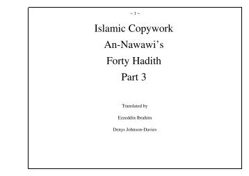 Islamic Copywork An-Nawawi's Forty Hadith Part 3