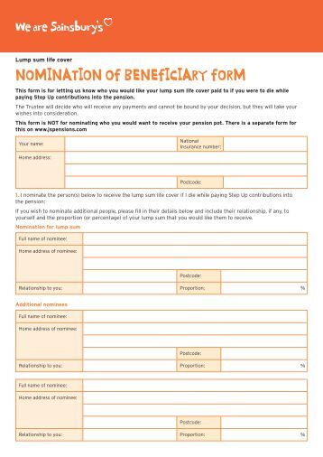 NOMINATION OF BENEFICIARY FORM - Sainsburys Pensions