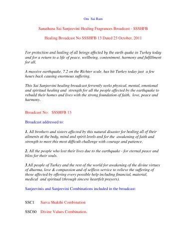Sanathana Sai Sanjeevini Healing Fragrances Broadcast - SSSHFB ...