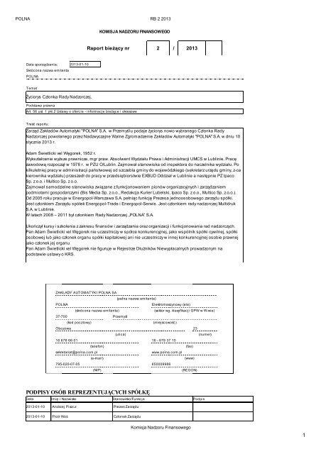 Raport bieżący nr 2/2013 - Polna S.A.