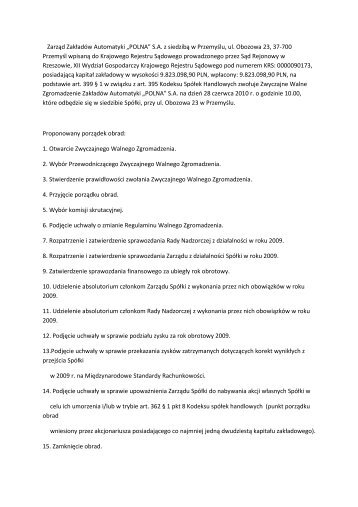Porządek obrad Walnego Zgromadzenia 28.06.2010 - Polna S.A.