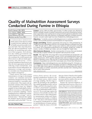 Quality of Malnutrition Assessment Surveys Conducted During ...