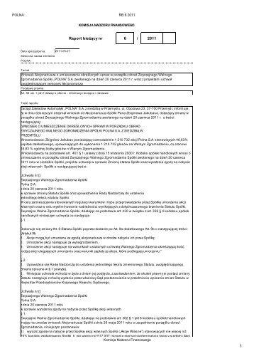 Raport bieżący nr 6/2011 - Polna S.A.