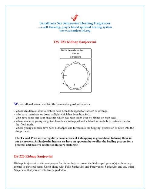 Sanathana Sai Sanjeevini Healing Fragrances DS 223 Kidnap