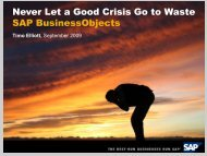 Never Let a Good Crisis Go to Waste SAP BusinessObjects - Net