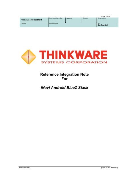 Open Reference Integration Notes (RIN) - Bluetooth