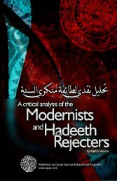 A critical analysis of the Modernists and the Hadeeth ... - Islam House