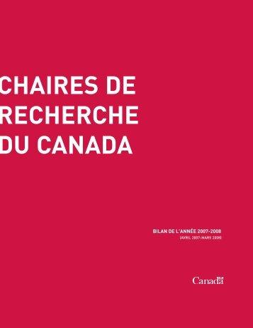Bilan de l'année 2007-2008 - Chaires de recherche du Canada