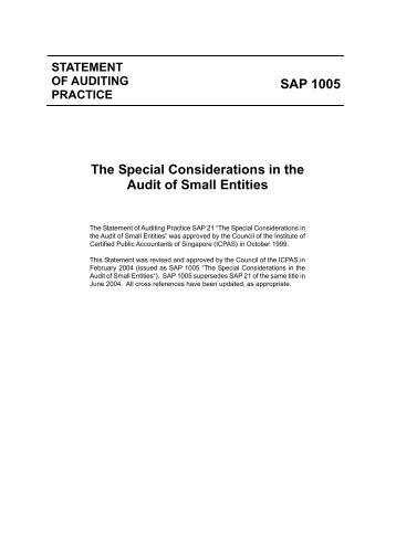 SAP 1005 The Special Considerations in the Audit of Small Entities