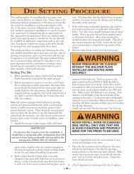 WARNING WARNING - Minster Machine Company