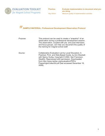 Professional Development Observation Protocol - Evaluation Toolkit ...