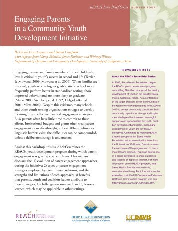 Engaging Parents in a Community Youth Development Initiative