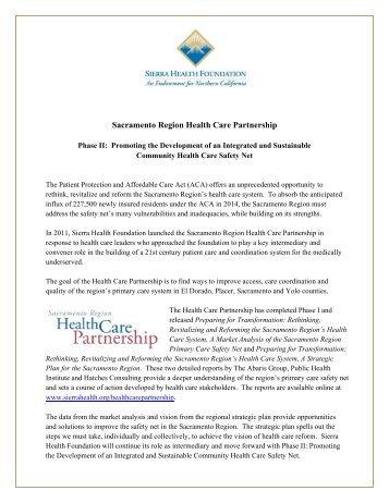 Sacramento Region Health Care Partnership - Sierra Health ...