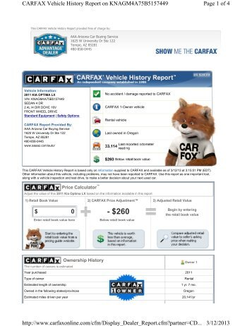 Carfax History Report - AAA Arizona