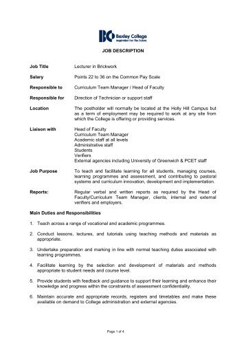 JOB DESCRIPTION Job Title Lecturer in Brickwork Salary ... - Eteach