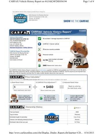 Carfax History Report - AAA Arizona