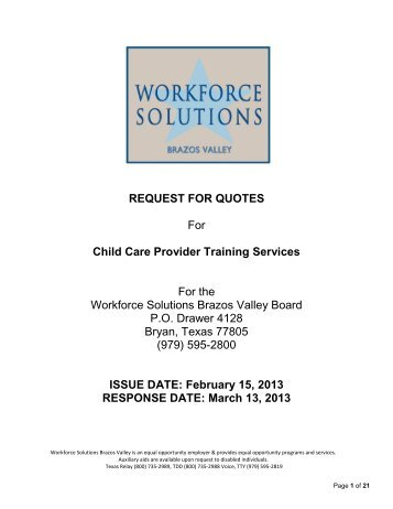 Child Care Quotes Enchanting Request For Quotes Rfq Child Care Trainers For Child Care