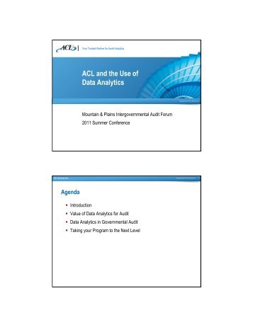 ACL and the Use of Data Analytics - Intergovernmental Audit Forums