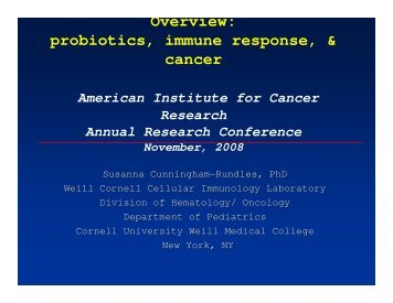 probiotics, immune response, & cancer - American Institute for ...