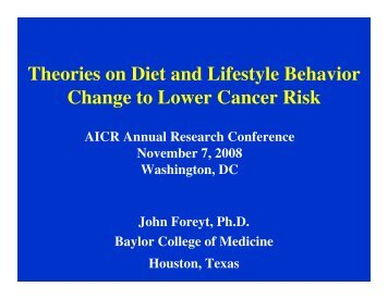 Theories on Diet and Lifestyle Behavior Change to Lower Cancer Risk