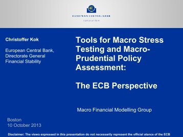 Tools for Macro Stress Testing and Macro- Prudential Policy ...