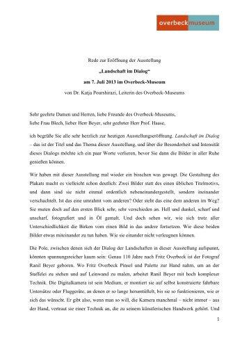 Die Eröffnungsrede von Dr. Katja Pourshirazi vom 7. Juli 2013 zum ...