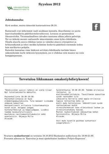 syyskuu 2012 - Vanhankartanon Omakotiyhdistys ry