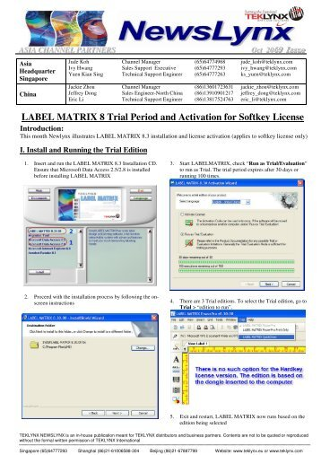 LABEL MATRIX 8 Trial Period and Activation for Softkey License