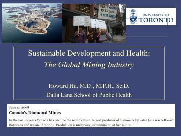 Sustainable Development and Health: The Global Mining Industry