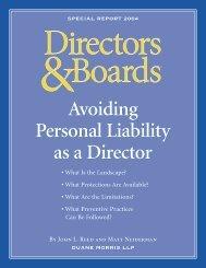 Avoiding Personal Liability as a Director - Duane Morris LLP