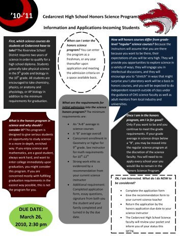 Information and Applications-Incoming Students - Cedarcrest High ...