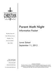 Parent Math Night - Charlotte Christian School