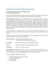 INTRODUCTION TO BIOINFORMATICS (Fall 2008) - Purdue ...