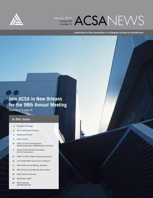 With Reunification New Orleans Becomes >> Join Acsa In New Orleans For The 98th Annual Meeting