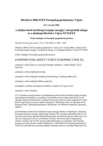 Direktiva 2006 32 Energetska učinkovitost i usluge