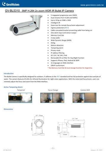 GV-BL5310 Specifications - CCTV Cameras