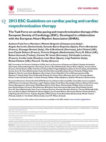 ESC Guidelines on Cardiac Pacing and CRT - European Society of ...